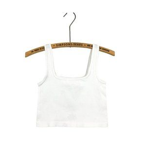Ribbed White Cropped Tank Top